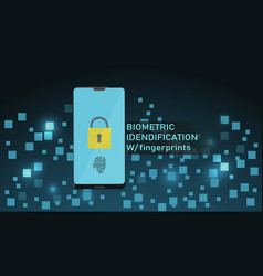 smartphone with fingerprint recognition concept vector image