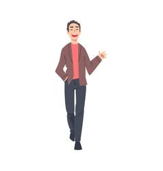 smiling man walking and waving his hand cartoon vector image