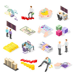 Stock exchange isometric icons vector