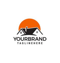 Sun homes logo real estate logo designs template vector