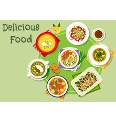 Tasty dinner icon with healthy food dishes vector image
