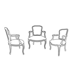 three drawing style armchairs vector image