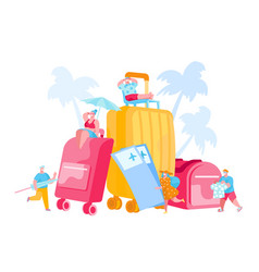 tiny tourists characters at huge luggage and vector image