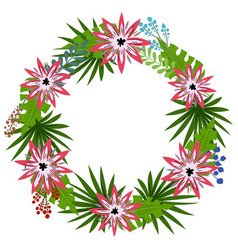 tropical flowers wreath vector image
