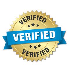 verified 3d gold badge with blue ribbon vector image