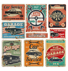 Vintage road vehicle repair service garage and vector