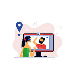 Virtual conference with online video chat vector