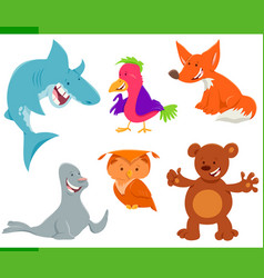wild animal characters cartoon set vector image