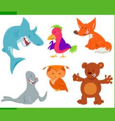 wild animal characters cartoon set vector image