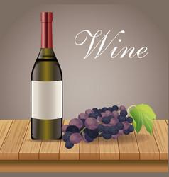 wine bottle grape wooden decoration vector image