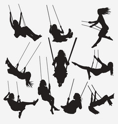woman swing silhouettes vector image