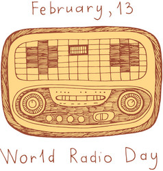 world radio day poster doodle scribble cartoon vector image