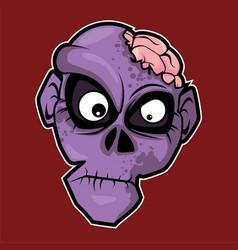 zombie purple head vector image