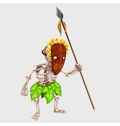 Ancient skeleton of an Indian mask with spear vector image vector image