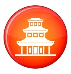Buddhist temple icon flat style vector image
