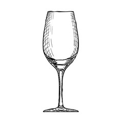 hand drawn engraved wineglass on white vector image vector image