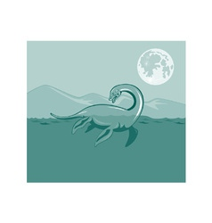 Loch Ness Monster Retro vector image vector image