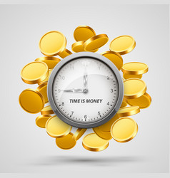 time money clock with coins objects vector image vector image