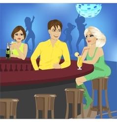 bartender talks to blonde sitting at bar counter vector image