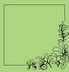 black square frame with berries and leaves vector image