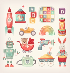 Colorful vintage toys vector image