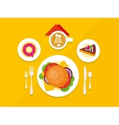 Food Objects on Table Flat Design vector image vector image