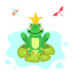 frog prince cartoon green clip-art isolated vector image