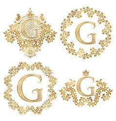 Golden letter g vintage monograms set heraldic vector