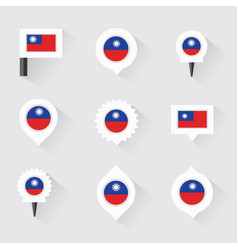 taiwan flag and pins for infographic and map vector image