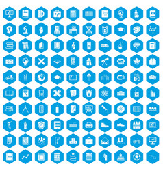 100 school icons set blue vector image vector image
