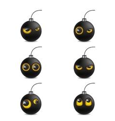 Bomb emoticon cartoon vector image vector image