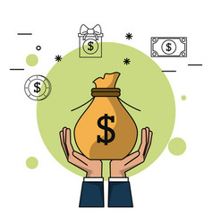 Colorful background of hands holding up money bag vector
