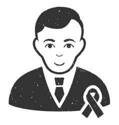 Gentleman With Mourning Ribbon Grainy Texture Icon vector image vector image