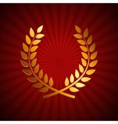 Gold award laurel wreath winner leaf label vector