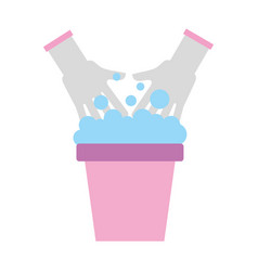laundry bucket with hands vector image