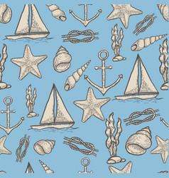 naval hand drawing seamless pattern vector image