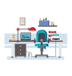 Office workplace flat design vector image vector image
