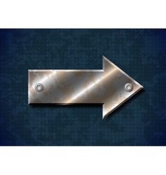 Rusty metal arrow with rivets on grungy background vector image