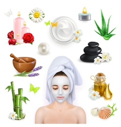 Spa beauty and care icons set vector image