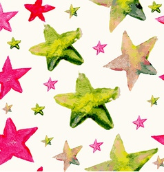 Watercolor star seamless pattern vector image