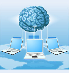 Computer brain computing concept vector