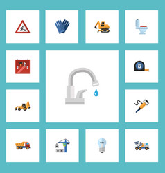 flat icons restroom pneumatic toolkit and other vector image