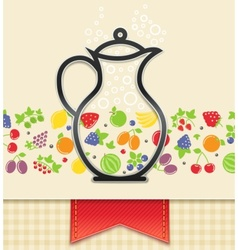 jug with fruit and berry vector image