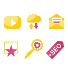 SEO and internet icon set vector image vector image