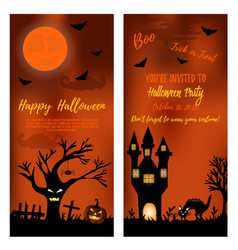 set of halloween banners with scare tree castle vector image vector image