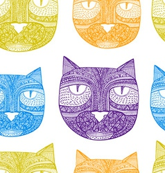 Tribal seamless pattern with hand drawn cats vector image
