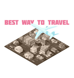 air travel isometric poster vector image