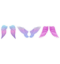 angel wings in vintage style template for tattoo vector image