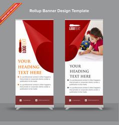 Artistic rollup banner in velvet red tone vector