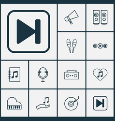 Audio icons set with audio buttons microphone vector